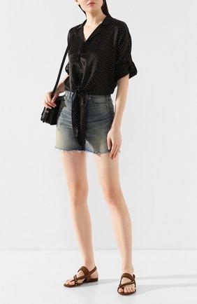 Женские замшевые сандалии gia SAINT LAURENT коричневого цвета, арт. 606742/1NZTT | Фото 2