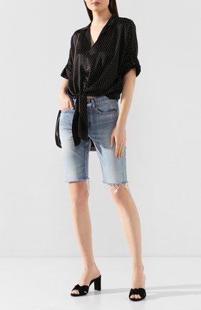 Женские текстильные мюли loulou SAINT LAURENT черного цвета, арт. 620128/1P200   Фото 2