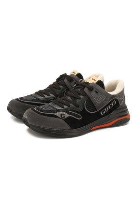 Мужские комбинированные кроссовки ultrapace GUCCI черного цвета, арт. 587241/0PVT0 | Фото 1