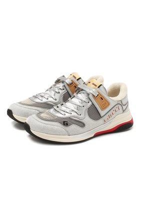 Мужские комбинированные кроссовки ultrapace GUCCI серебряного цвета, арт. 599058/HW910 | Фото 1