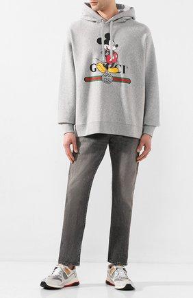 Мужские комбинированные кроссовки ultrapace GUCCI серебряного цвета, арт. 599058/HW910 | Фото 2