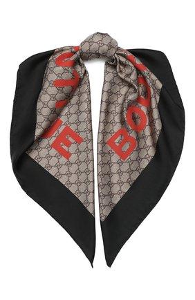 Женский шелковый платок GUCCI коричневого цвета, арт. 623133/3G001 | Фото 1