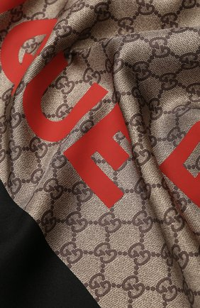 Женский шелковый платок GUCCI коричневого цвета, арт. 623133/3G001 | Фото 2