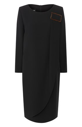 Женское платье из смеси вискозы и шелка GIORGIO ARMANI черного цвета, арт. 0SHVA04B/T008A | Фото 1 (Материал подклада: Синтетический материал; Материал внешний: Шелк, Вискоза; Рукава: Длинные; Длина Ж (юбки, платья, шорты): До колена; Случай: Формальный; Статус проверки: Проверена категория)