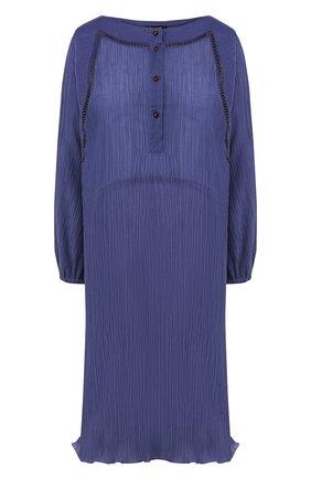 Женское платье из смеси хлопка и шелка GIORGIO ARMANI синего цвета, арт. 0SHVA04X/T01J3 | Фото 1 (Длина Ж (юбки, платья, шорты): До колена; Материал внешний: Хлопок; Рукава: Длинные; Случай: Повседневный; Статус проверки: Проверена категория)