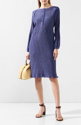 Женское платье из смеси хлопка и шелка GIORGIO ARMANI синего цвета, арт. 0SHVA04X/T01J3 | Фото 2 (Длина Ж (юбки, платья, шорты): До колена; Материал внешний: Хлопок; Рукава: Длинные; Случай: Повседневный; Статус проверки: Проверена категория)