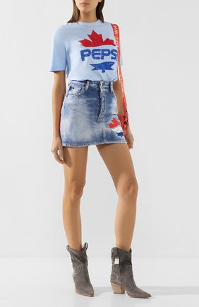 Женская джинсовая юбка DSQUARED2 синего цвета, арт. S73MA0474/S30309 | Фото 2