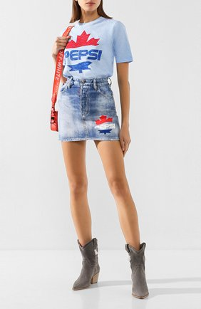 Женская хлопковая футболка DSQUARED2 голубого цвета, арт. S73GC0259/S22507 | Фото 2