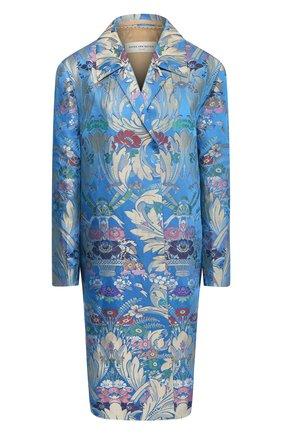 Женское пальто из смеси шелка и льна DRIES VAN NOTEN синего цвета, арт. 201-10276-9053 | Фото 1