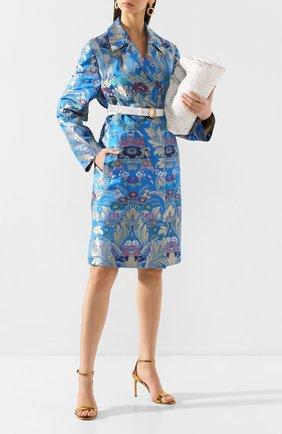 Женское пальто из смеси шелка и льна DRIES VAN NOTEN синего цвета, арт. 201-10276-9053 | Фото 2