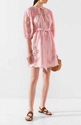 Женское льняное платье INNIKA CHOO розового цвета, арт. M2002LINS01CDFL | Фото 2