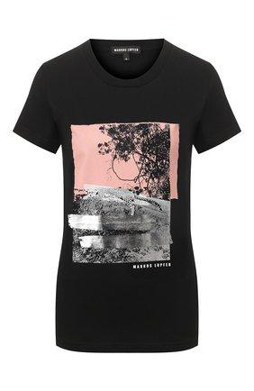 Женская хлопковая футболка MARKUS LUPFER черного цвета, арт. TEE337 | Фото 1