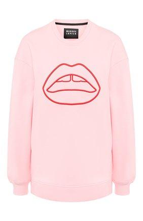 Женская хлопковый свитшот MARKUS LUPFER розового цвета, арт. SW356 | Фото 1