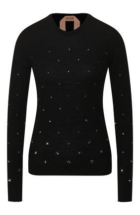 Женская шерстяной пуловер N21 черного цвета, арт. 20E N2M0/A008/7019 | Фото 1