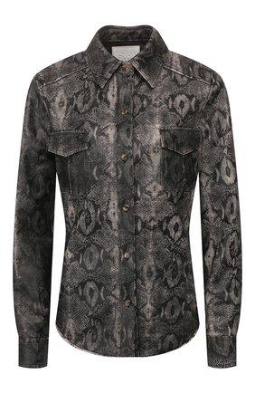 Женская кожаная рубашка TWINS FLORENCE серого цвета, арт. TWFPE20CAM0007B | Фото 1