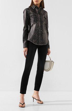 Женская кожаная рубашка TWINS FLORENCE серого цвета, арт. TWFPE20CAM0007B | Фото 2