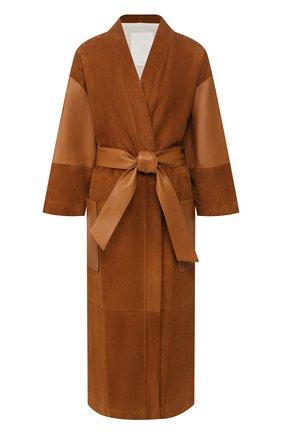 Женское замшевое пальто TWINS FLORENCE коричневого цвета, арт. TWFPE20CAP0001 | Фото 1