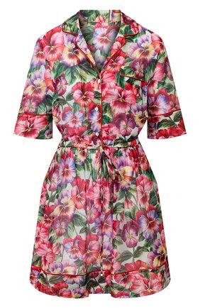 Женское платье из смеси хлопка и шелка DOLCE & GABBANA сиреневого цвета, арт. F6H5KT/HS5GK | Фото 1