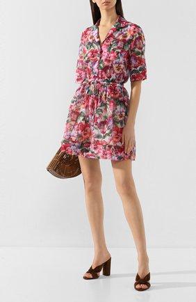 Женское платье из смеси хлопка и шелка DOLCE & GABBANA сиреневого цвета, арт. F6H5KT/HS5GK | Фото 2