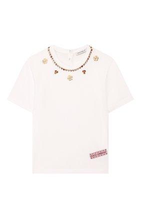 Детская хлопковая футболка DOLCE & GABBANA белого цвета, арт. L5JTFB/G7WCW/2-6   Фото 1