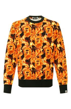 Мужской хлопковый свитшот BAPE оранжевого цвета, арт. 1G30113010 | Фото 1