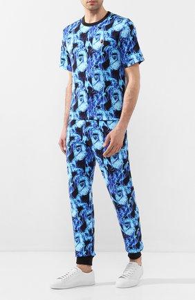 Мужской хлопковые джоггеры BAPE синего цвета, арт. 1G30152013 | Фото 2