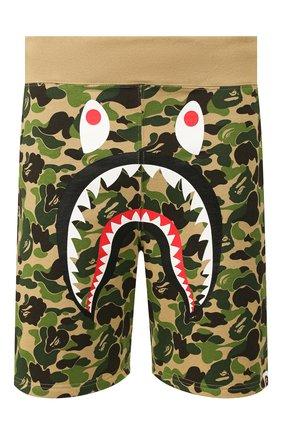 Мужские хлопковые шорты BAPE зеленого цвета, арт. 1G30153002 | Фото 1