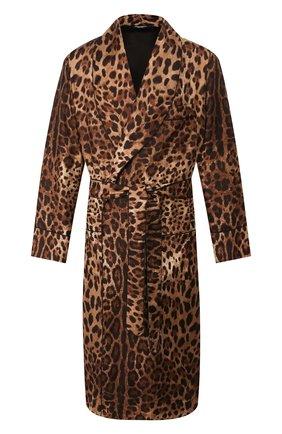 Мужской шелковый халат DOLCE & GABBANA коричневого цвета, арт. G0936T/IS1B7 | Фото 1