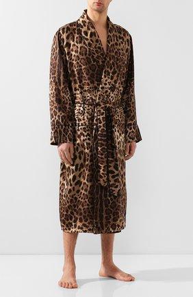 Мужской шелковый халат DOLCE & GABBANA коричневого цвета, арт. G0936T/IS1B7 | Фото 2