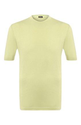 Мужской хлопковый джемпер KITON светло-зеленого цвета, арт. UK441 | Фото 1 (Рукава: Короткие; Мужское Кросс-КТ: Джемперы; Материал внешний: Хлопок; Принт: Без принта; Длина (для топов): Стандартные; Вырез: Круглый)