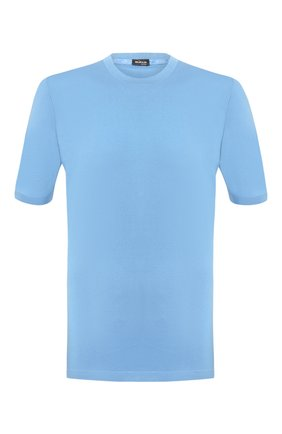 Мужской хлопковый джемпер KITON голубого цвета, арт. UK441   Фото 1