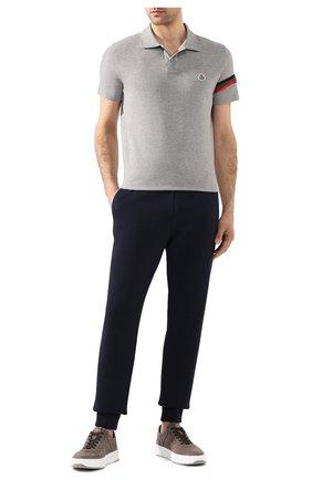 Мужское хлопковое поло MONCLER серого цвета, арт. F1-091-8A709-00-84556 | Фото 2