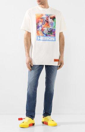 Мужская хлопковая футболка HERON PRESTON белого цвета, арт. HMAA013S209140210188 | Фото 2