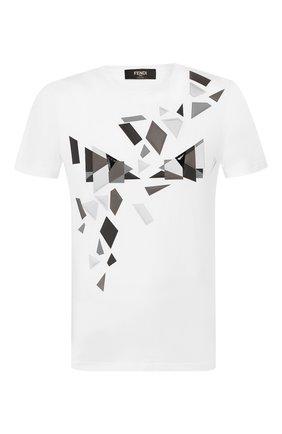Мужская хлопковая футболка FENDI белого цвета, арт. FAF532 AAY5 | Фото 1