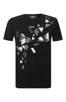 Мужская хлопковая футболка FENDI черного цвета, арт. FAF532 AAY5 | Фото 1