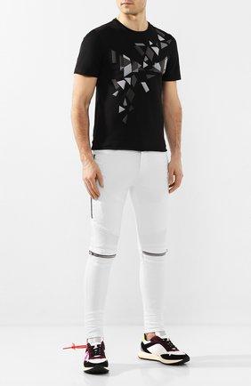 Мужская хлопковая футболка FENDI черного цвета, арт. FAF532 AAY5 | Фото 2