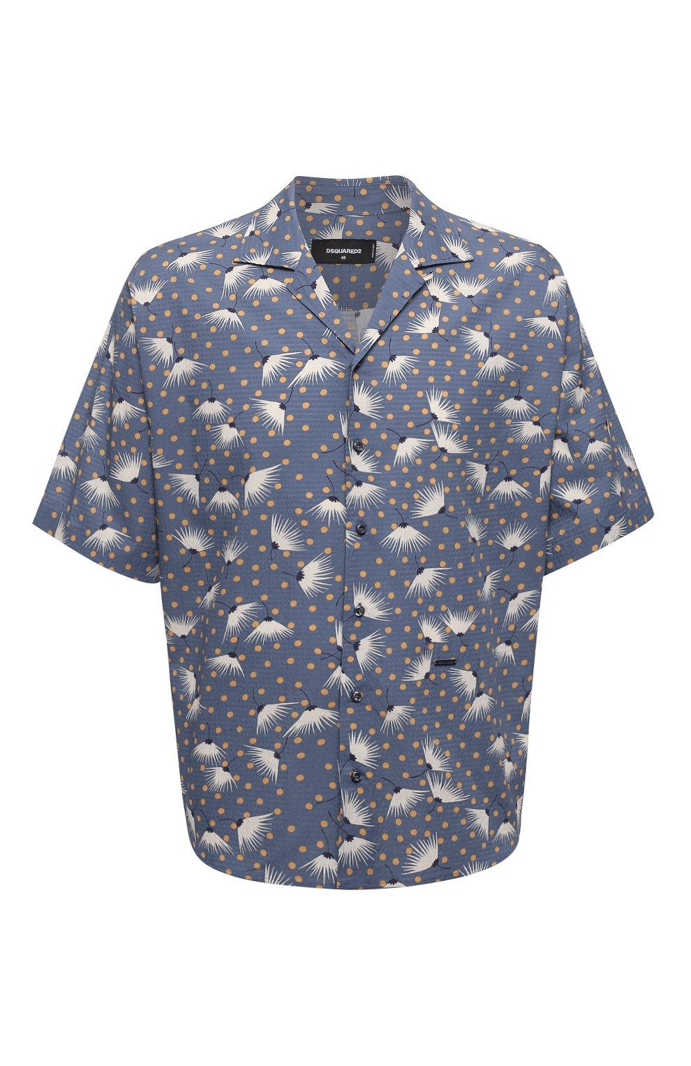 Мужская хлопковая рубашка DSQUARED2 синего цвета, арт. S71DM0401/S52802 | Фото 1