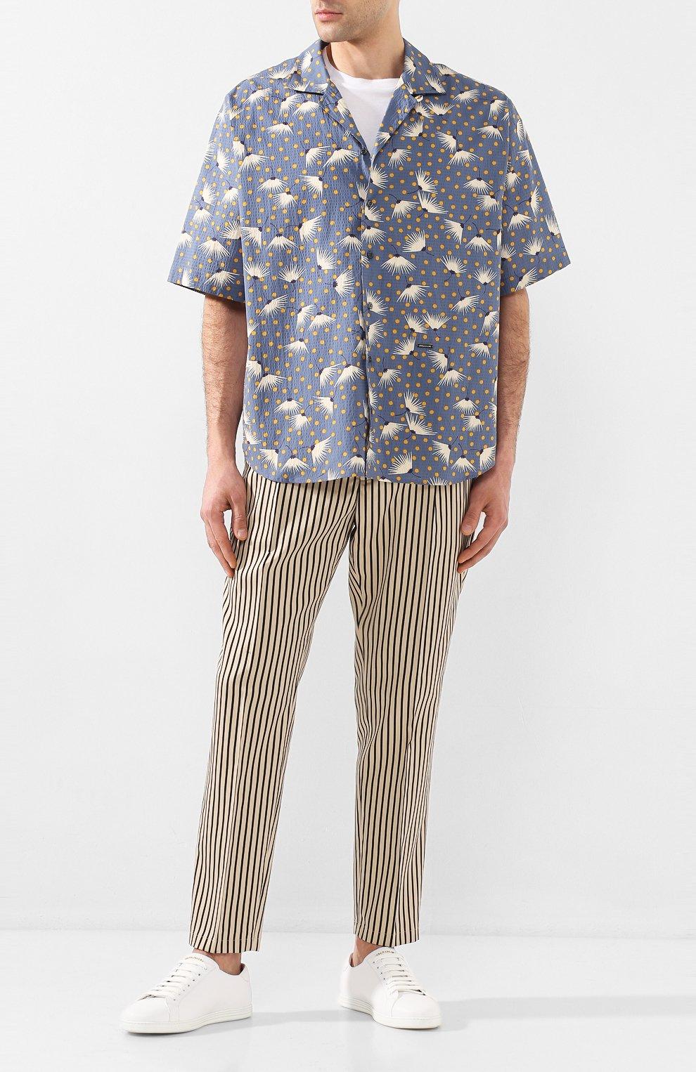 Мужская хлопковая рубашка DSQUARED2 синего цвета, арт. S71DM0401/S52802 | Фото 2
