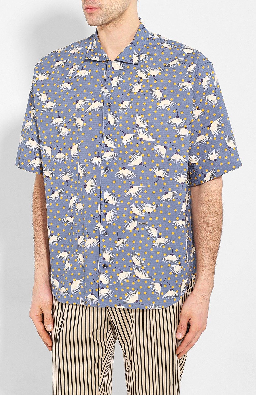 Мужская хлопковая рубашка DSQUARED2 синего цвета, арт. S71DM0401/S52802 | Фото 3