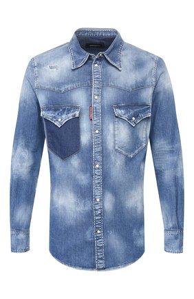 Мужская джинсовая рубашка DSQUARED2 синего цвета, арт. S71DM0402/S30341 | Фото 1