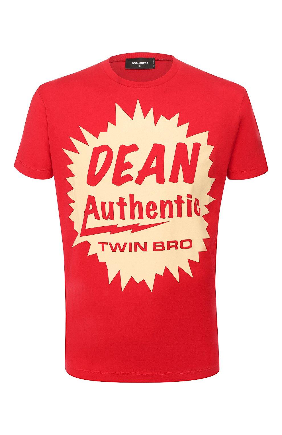 Мужская хлопковая футболка DSQUARED2 красного цвета, арт. S71GD0888/S22427 | Фото 1