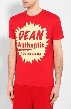 Мужская хлопковая футболка DSQUARED2 красного цвета, арт. S71GD0888/S22427 | Фото 3