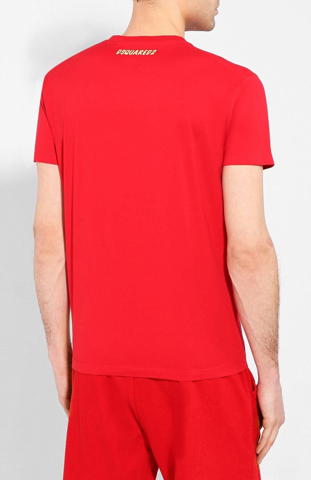Мужская хлопковая футболка DSQUARED2 красного цвета, арт. S71GD0888/S22427 | Фото 4