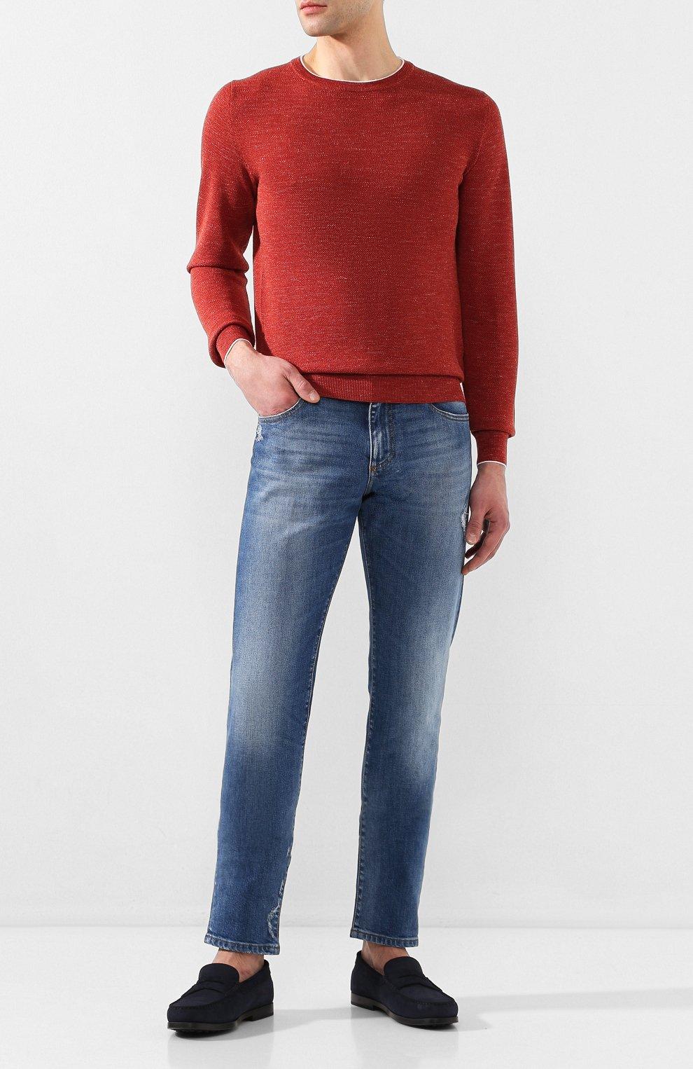 Мужской джемпер из смеси шерсти и шелка FIORONI бордового цвета, арт. MK20361A2   Фото 2