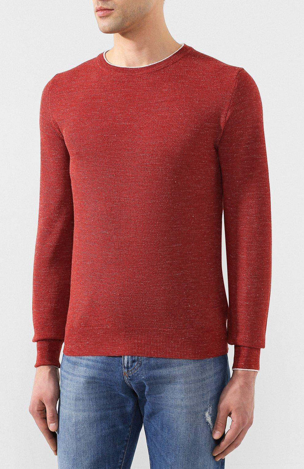 Мужской джемпер из смеси шерсти и шелка FIORONI бордового цвета, арт. MK20361A2   Фото 3