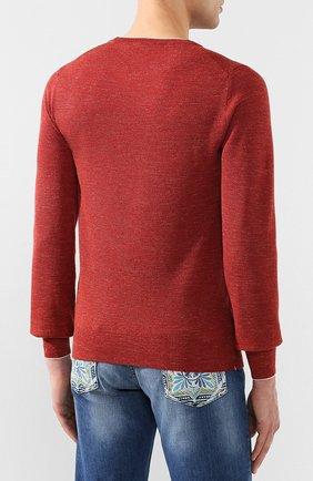 Мужской джемпер из смеси шерсти и шелка FIORONI бордового цвета, арт. MK20361A2   Фото 4
