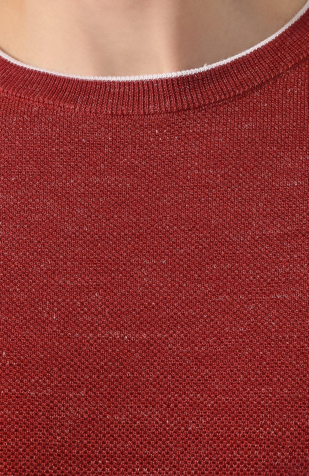 Мужской джемпер из смеси шерсти и шелка FIORONI бордового цвета, арт. MK20361A2   Фото 5