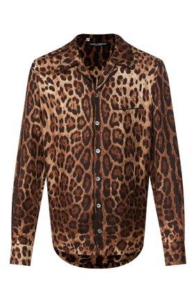 Мужская шелкова сорочка DOLCE & GABBANA коричневого цвета, арт. G5GY4T/IS1B7 | Фото 1