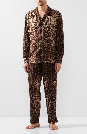Мужская шелкова сорочка DOLCE & GABBANA коричневого цвета, арт. G5GY4T/IS1B7 | Фото 2