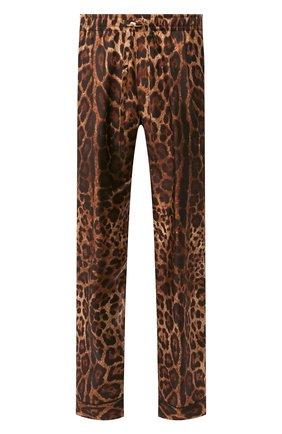 Мужские шелковые домашние брюки DOLCE & GABBANA коричневого цвета, арт. GW8BHT/IS1B7 | Фото 1